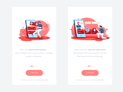 Dream11 App Onboarding player money success signup login homepage card onboarding screen cricket sport game ux app onboarding ui icon illustration