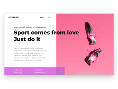 Love Sport ui website design website