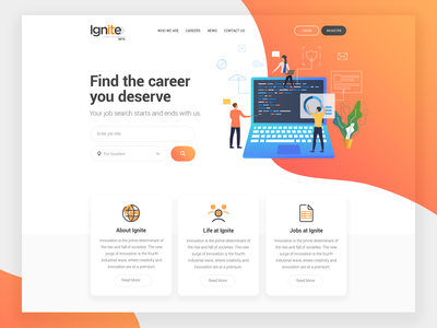 Job Portal Landing Page color typography interface vector business landing page design dribbble ui ux illustration careers page career