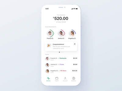 Borderless credit app: Payoff User Interaction minimalistic simple ux ui interaction selector assign credit banking payoff flow payment clean