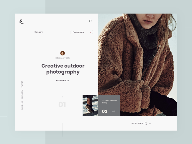 Creative Magazine photography modern minimalism clean simple design web ui ux
