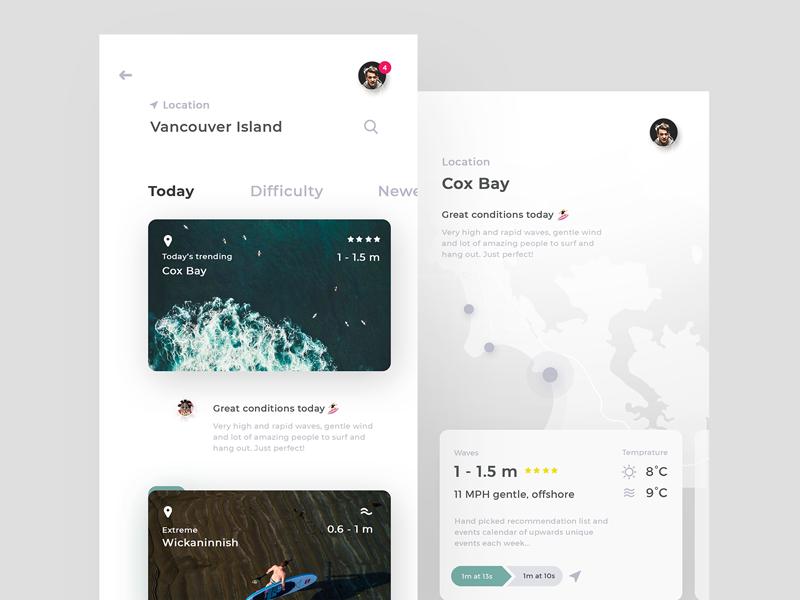 🌊 4Surfers App design sport clean simple mobile apple iphone ios app ui ux