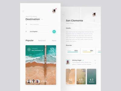 StopBy App - search & details minimal places travel mobile app ux ui