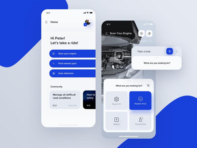 AR Car Mechanic App ux ui design app mobile car reality augmented ar android ios