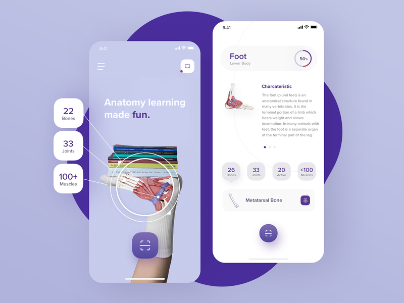 Anatomic - AR Anatomy Learning App ux ui design app mobile anatomy health medic reality augmented ar android ios