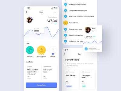 Pockee - Parent app - Child profile 🧒 ux ui mobile kids learning spending fintech finance family banking app