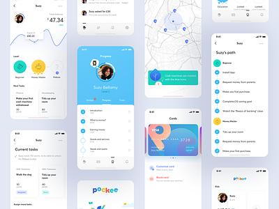 Pockee – a family banking app ux ui mobile minimal kid illustration fintech finance family banking app