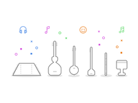 Persian Music Instrument Icons