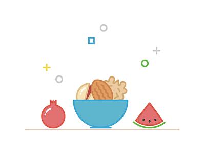 Yalda - Longest Night of Year bowl nut watermelon melon pomegranate illustration tehran iran yalda
