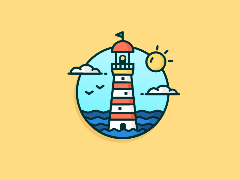 Sunny Lighthouse outline rebound see sun could icon illustration lighthouse