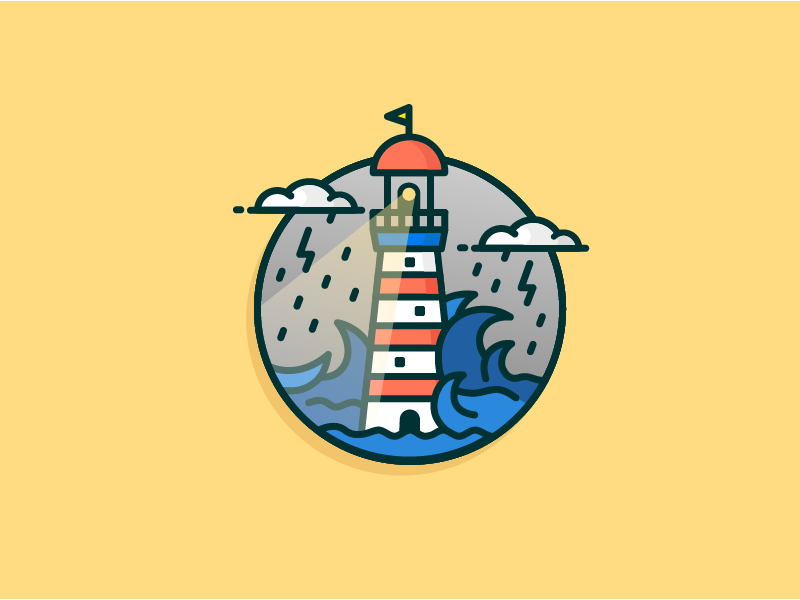 Rainy Lighthouse thunder see wave lighthouse rain cloud outline rebound icon illustration
