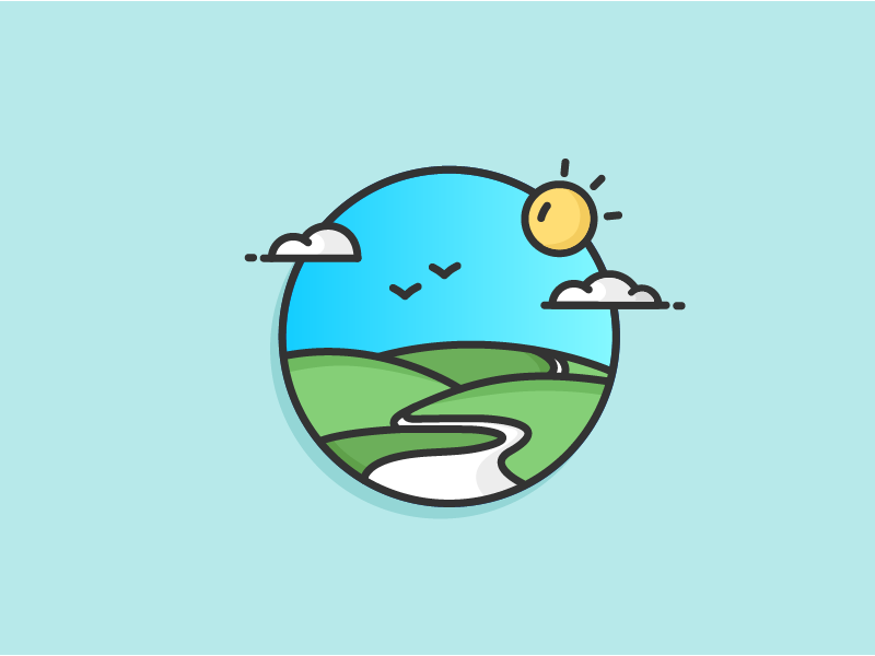 Green Hill Road hill green road birds blue sky sun cloud outline icon illustration