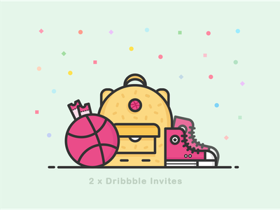 2 Dribbble Invites clean invitaion ticket allstar basketball outline backpack icon illustration dribbbleinvitation dribbble invite