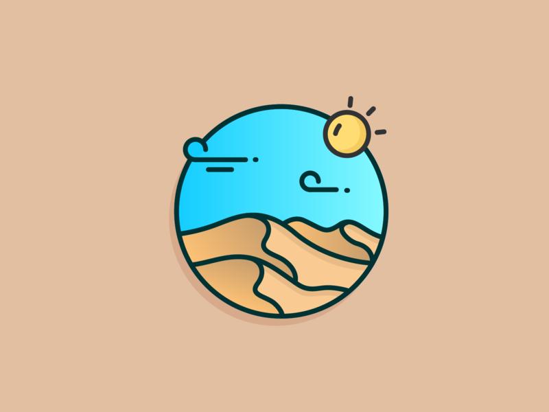 The Desert clean outline sun wind blue sky icon design icon illustration desert
