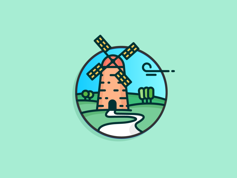 Windmill road wind tree field green icon artwork netherlands windmill outline clean blue sky illustration icon a day icon