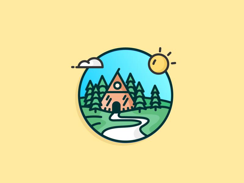 The Cabin jungle woods road sun cabin tree icon design blue sky clean outline illustration icon