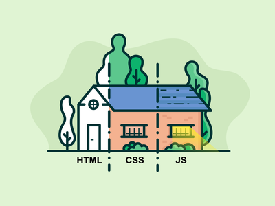 What is Front-end Development? development developer frontend css house javascript js html outline icon design icon illustration