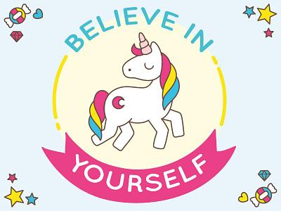 Believe in Unicorn multicolour graphic design cartoon illustration graphic design dream big dreaming unicorn