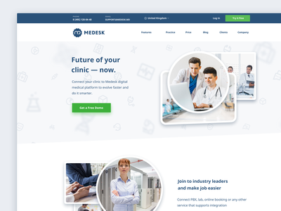 Medesk's Landing Page health management clinic health promo landingpage landing page landing