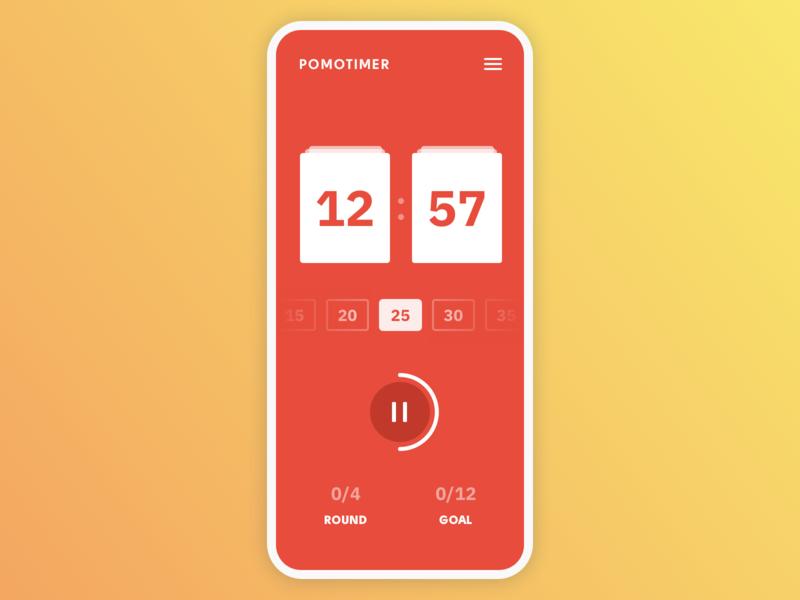 Countdown Pomodoro Timer · DailyUI 014 pomodoro timer timer countdown app ui pomodoro countdown timer dailyui dailyui 014