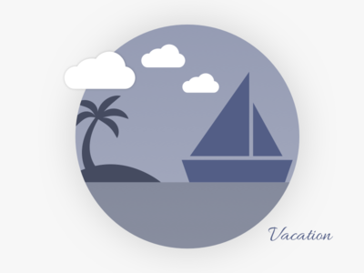 Vacation purple clouds icon holiday illustration boat svg vector vacation