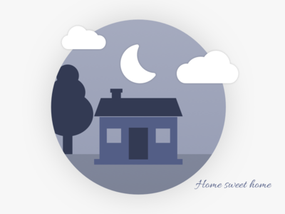 Home sweet home sketch illustration sweet thank you lavender purple tree moon cloud family home house