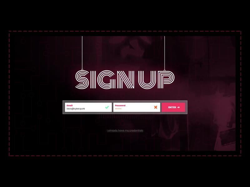 Daily UI #001 - Sign Up purple typography branding webdesign cyberpunk design ui sketch uidesign dailyui 001