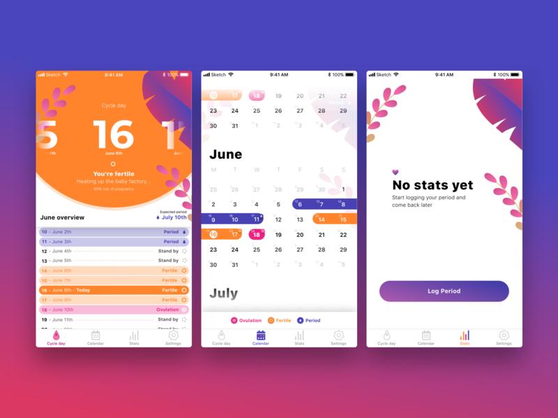 Period Tracker Concept purple typography ui illustration ux sketch mobile app design mobile app vector logo design