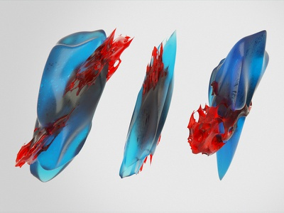 Of blood and gore colorful still graphic cg 3d octane render sss amber gems stones