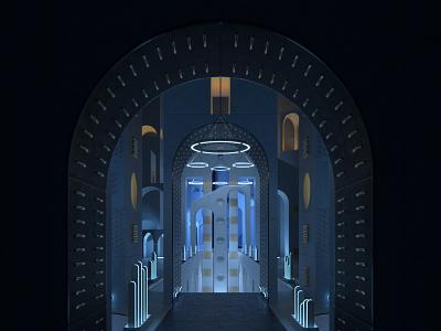 Lost city architecture design illustration art lighting gold render octane metal cg 3d