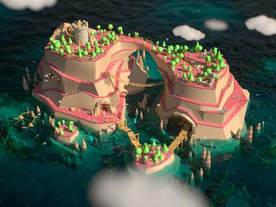 Smuggler's Island pirates smuggler environmet minimalistic low-poly octane render c4d island