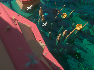 Smuggler's Island seagulls sunken ship master flag smugglers pirates octanerender minimalistic lowpoly island environment c4d