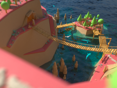Smuggler's Island smugglers pirates c4d octane render minimalistic lowpoly ocean trees island environment cg 3d