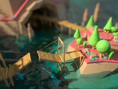 Smuggler's Island bright island water sea smuggler pirates minimalistic 3d animation 3d art environment low-poly octane render c4d cg 3d