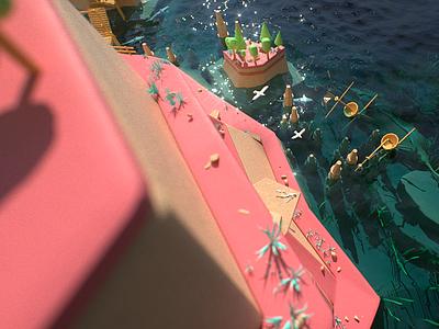 Smuggler's Island sun trees octane render pirates flag ship low-poly seagulls sea island environment c4d cg 3d