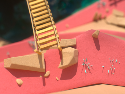 Smuggler's Island environment low-poly art water land sea smuggler pirates island colorful bright octane c4d cg 3d