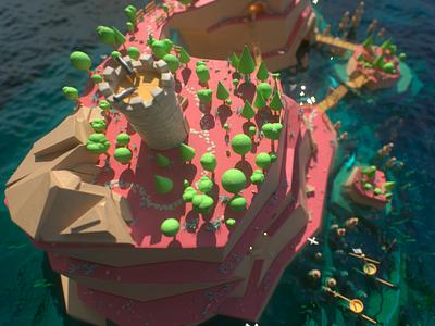 Smuggler's Island creativity pirates art render gold octane render animation 3d cg c4d island