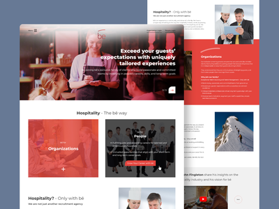 Hospitality Recruitment Agency - Website Design designs ui design fresher interview employment employer people candidates recruitment agency organisation hospitality landing page onepage userinterface ux design uiux brand identity branding website