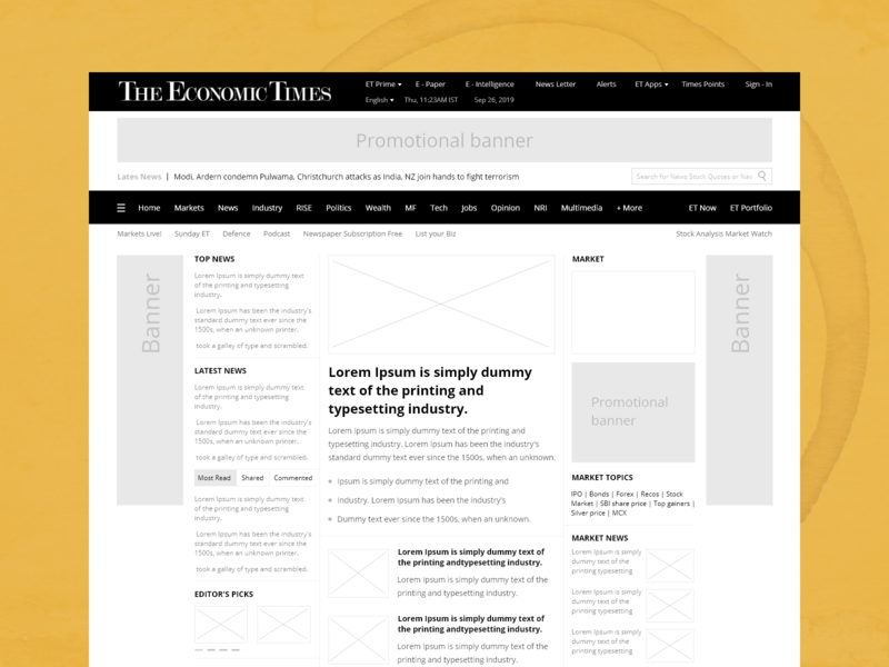 Economic Times Website Redesign blueprint grayscale prototype newsfeed yellow redesign website wireframe