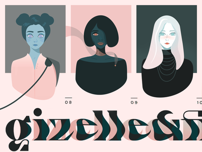 Gizelle & Fiona website typogaphy branding illustration