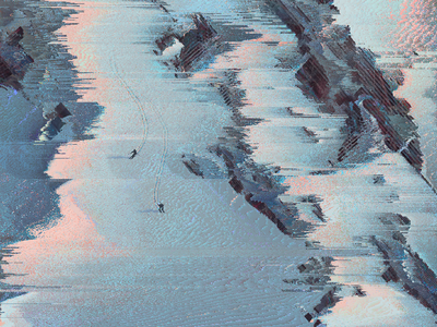 Skiing on spaceship ruins poster art landscape glitch art pixel sort poster illustration