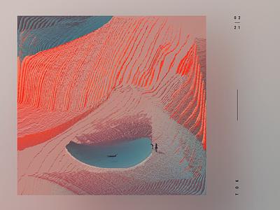 The secret lake pixelart art glitch pixelsort poster colors illustration