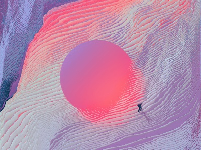 The ancient superball glitch effect pixel sorting landscape illustration glitch art glitch landscape illustration