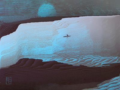 Sunset on Mars (fine glitch art) mood glitchart illustration