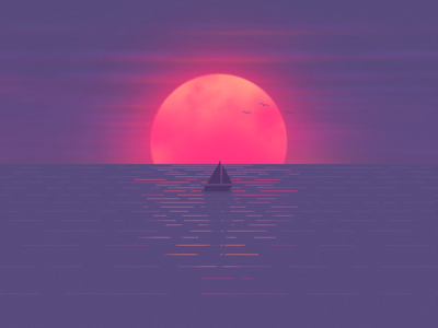 Sunset on a beach sunset illustration