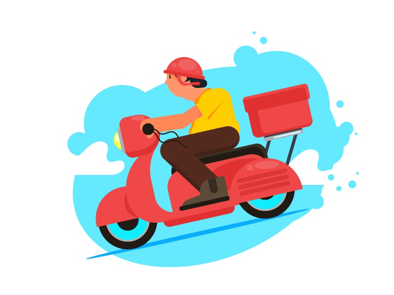 Delivery Boy illustration despatch division away take scooter character cartoon delivery