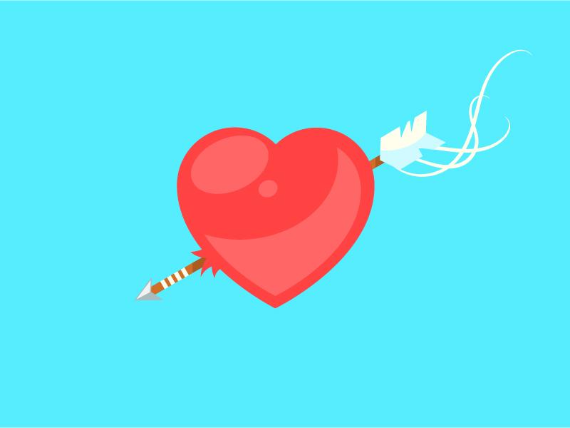 Valentine S Day Love Arrow Pierced Heart By Itamar Cohen Dribbble