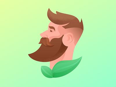 Organic beard oil hair care hair barbershop leaves beard oil beard icon green logo design flat digital painting illustrator character vector illustration