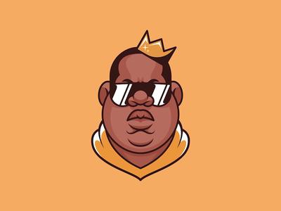 Juicy singer rap hip hop the notorious b.i.g. logo icon flat design digital painting illustrator character vector illustration