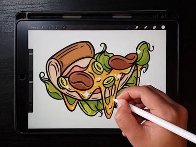 Procreate pizza illustration pixel art logo icon drawing design digital painting vector illustrator character illustration
